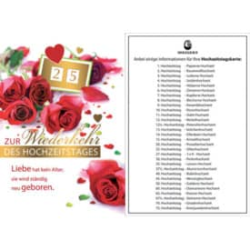 Hochzeitstagskarte Drehzahl 93-100100   Bild