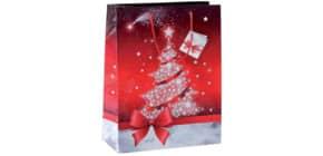 Weihn.Geschenktragetasche 26x33x12cm SIGEL GT022 Large Sparkling Tree Produktbild