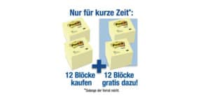 Haftnotizblock 76x76mm gelb POST-IT 654SP24 12 gratis Produktbild
