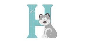 Tierbuchstaben aus Holz H Hahn 81627 10cm bunt Produktbild