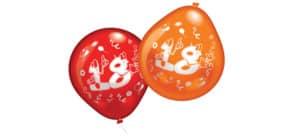 Luftballon Zahl 18.Geburtstag sort EVERTS 48958 10ST Produktbild
