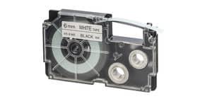 Schriftband 6mmx8m schwarz/weiß Casio weiß XR-6WE1 Produktbild