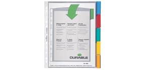 Prospekthüllenregister A4 transparent DURABLE 6630 19 5-teilig farbige Tabs Produktbild