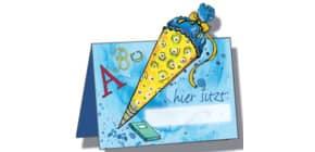 Tischkarte Schulstart 6ST blau ROTH 679041 mit Glitter Produktbild